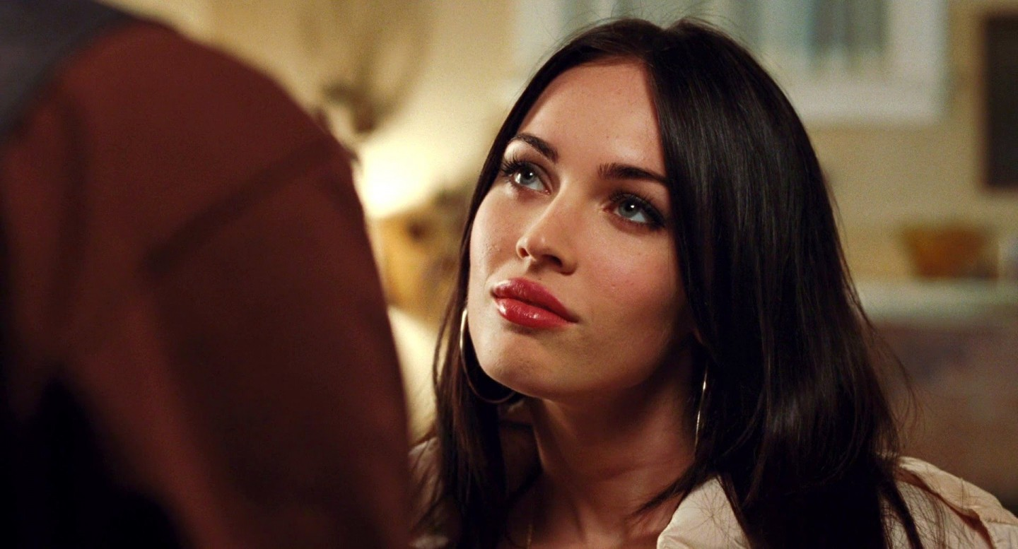 Megan Fox Red Lips Stylish Black Hair Hollywood Actress Wide