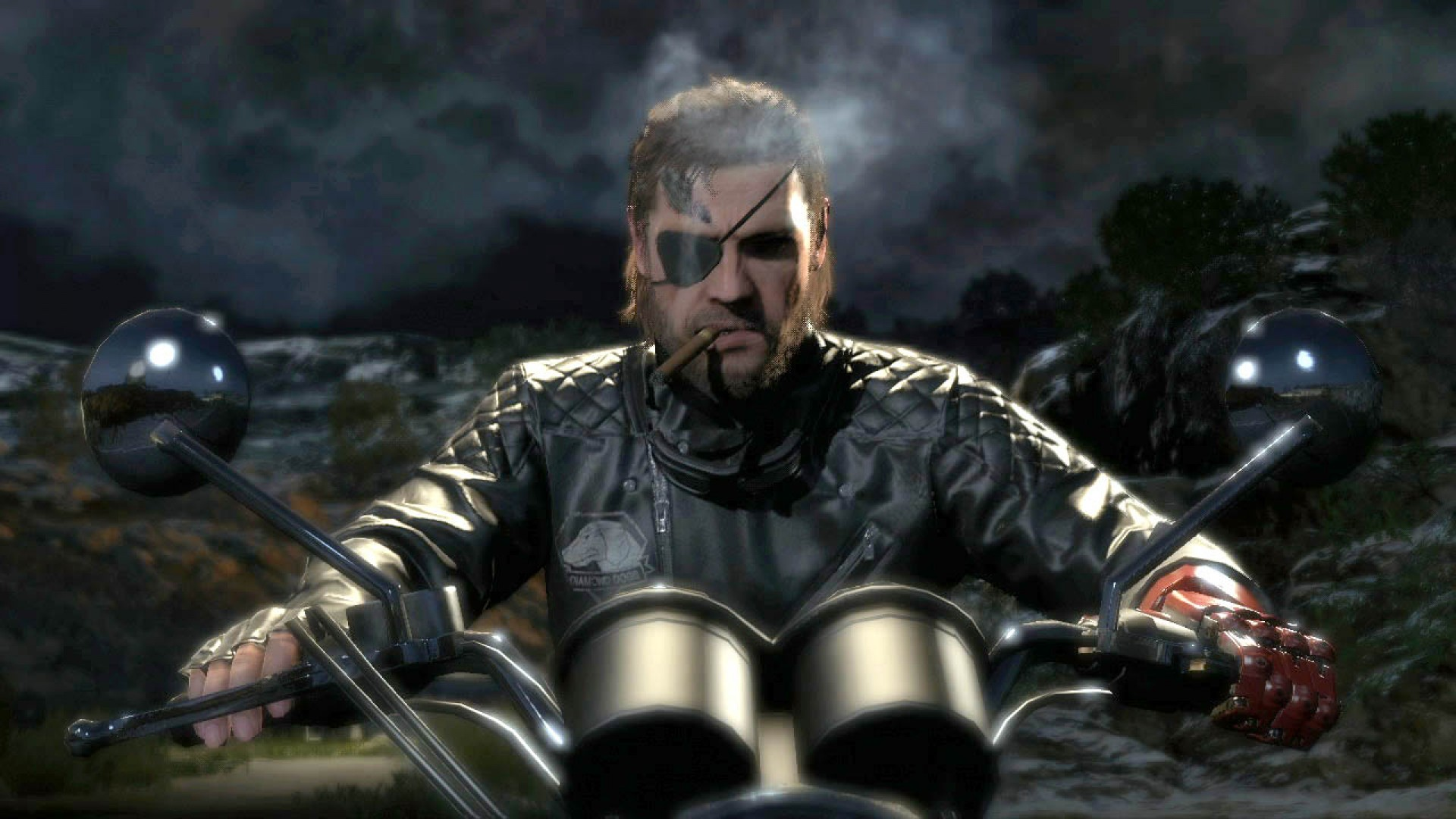 big boss naked snake on a motorbike metal gear solid v the phantom