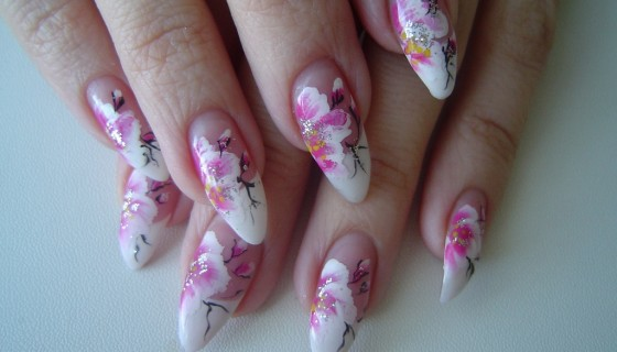 Flower pink white color Nail P…