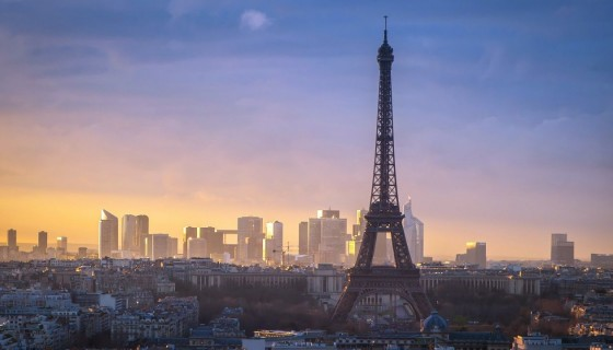 sun morning paris eiffel …