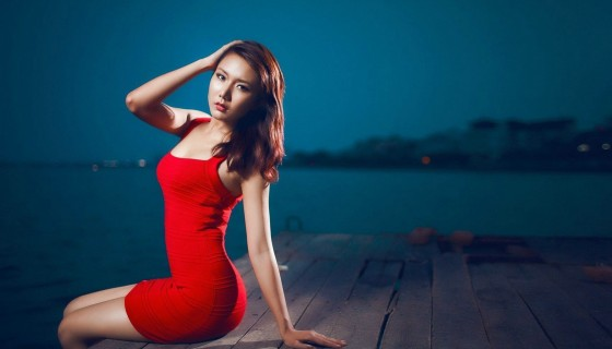 asian model in red dress …
