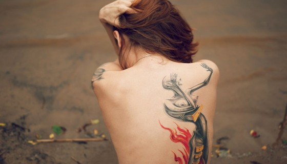 girl backless beautiful tattoo…