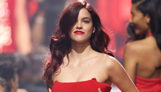 Barbara Palvin in red dre…