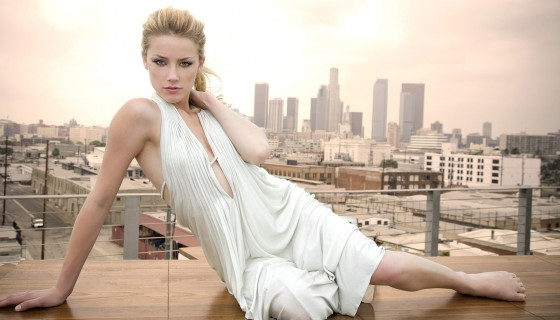 Amber Heard in white dres…