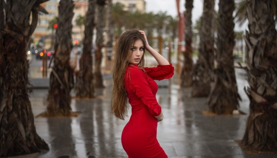 hot beautiful girl in red dres…