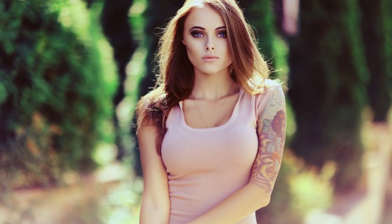 blonde brunette long hair tatt…
