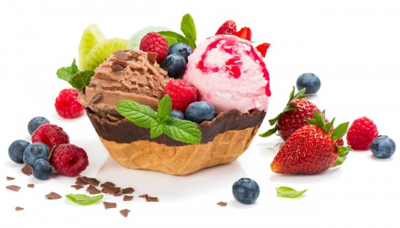 food ice cream berries fruit