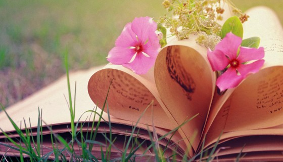 flowers love heart book