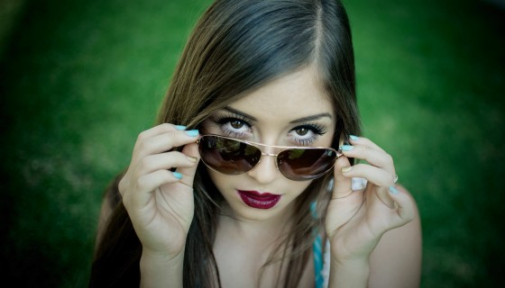 beautiful girl glasses red lip…