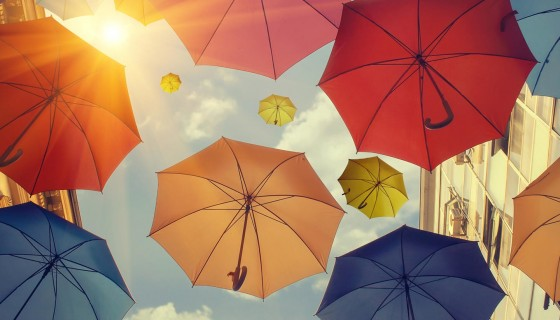 colorful umbrella in sky hd wa…