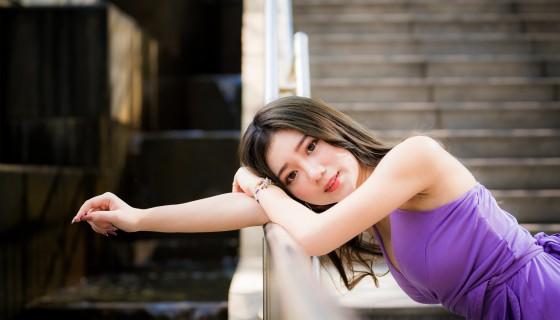 asian model black hair outdoor…