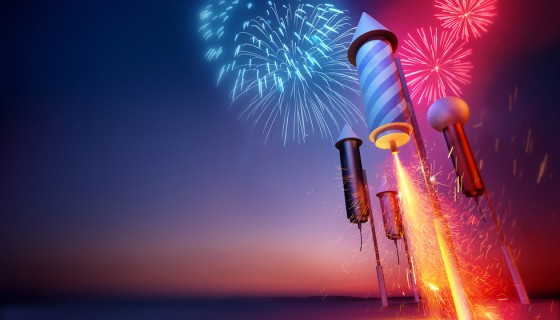 Fireworks rockets foreground h…