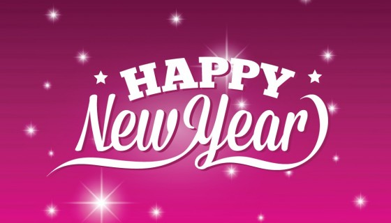 Happy new year pink and w…