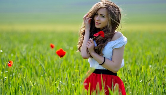 Hot girls with flower hd wallp…
