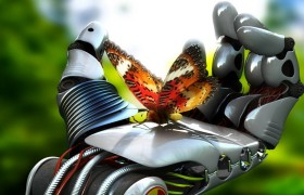 robot hand butterfly hd wallpa…