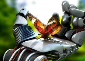 robot hand butterfly hd wallpapers