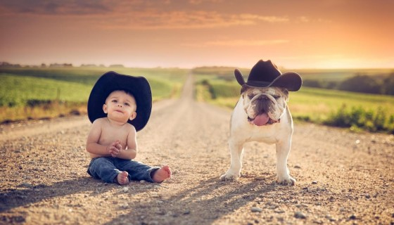 cute baby with dog hd wal…