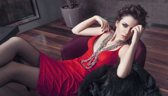 Basak Parlak in red sexy dress